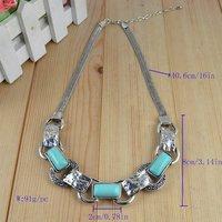 Ювелирный набор Fashion Jewelry Vintage Tibetan Silver Elegant Oblong Turquoise Beads Necklace Bracelet Earring Jewelry Set S18