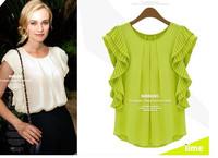 Женские блузки и Рубашки Europe and the new organ fold short-sleeved shirt loose chiffon shirt Women's Feifei sleeve shirts blouse summer
