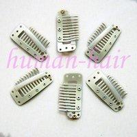 Зажимы для наращивания волос 300pcs Clips for Hair Extensions/wig/weft 36mm long Blonde color