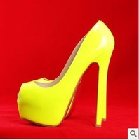 Туфли на высоком каблуке discounts yellow leather peep toe high heel pumps size 12