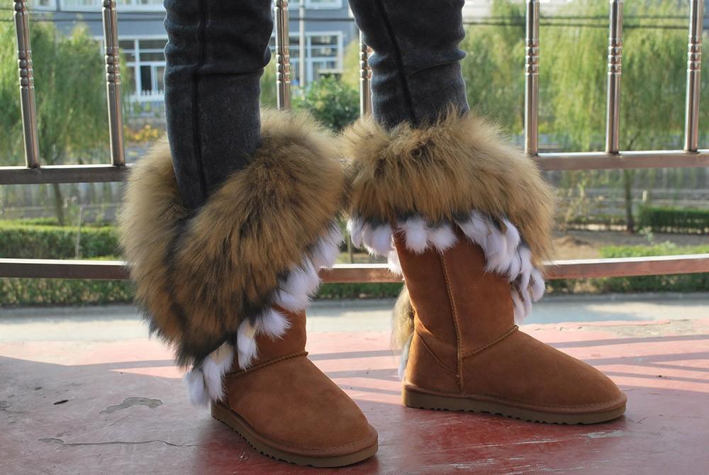 100%genuine Leather Real Naturte Arctic Fox Fur Tassel Snow Boots For