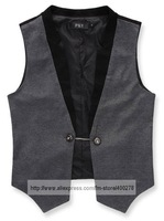 Мужской жилет Men's Suit Tuxedo Dree Collar Suits & Blazer Vests Gray Black MJ05