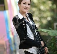 Женская куртка 3pcs/lot New hot Fashion Korean Ladies epaulet Long Sleeve motorcycle Double-breasted Jacket Suit Coat Black 4938