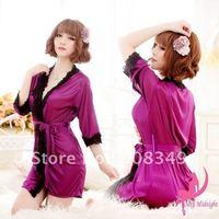 Сексуальная леди белье женщин пижамы Ванна одеяние кимоно платье стринги трусики комплект purple / Розовый / синий