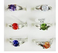 Кольцо Mixed Color Zircon Ring 925 Sterling Silver Plated CZ Ring Crystal Ring