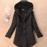 Лучшие продажи! долго с капюшоном куртка женская хлопок женщин с капюшоном плед пуховики зимние пальто