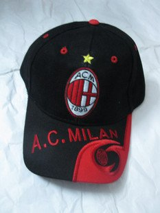 AC milan fans black - red hat  adjustable tightness