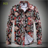 Мужская повседневная рубашка Magic] beautiful flowers printing high quality men's shirts long sleeve cotton casual shirts men fashion style big size M-5XL