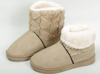 Женские ботинки 2012 new winter warm flat heels solid snow boots flat woman heart soft plush shoes, women Winter Thicken boots