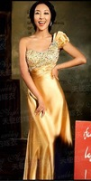 2012 Fashion Bride Red Married Mermaid Cathedral train Wedding Formal Evening Dress Robes 8708