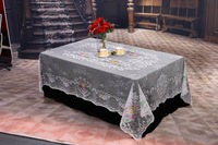 100% polyester jaquared lace table cloth with flower design