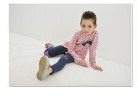 Блузка для девочек Korean Stylish Irregular Hem, Polka Dots Little Girl's Long Sleeve Blouse, Pink Sweet Long Tops for Girls, K0181