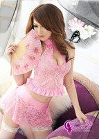 Сексуальная ночная сорочка Lingerie 3 PCS Pink Sexy Lingerie Dress + Skirt