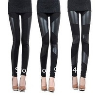 Fashion Women Sexy Stitching Stretchy Faux Leather Back Tight Leggings Pant Lrs