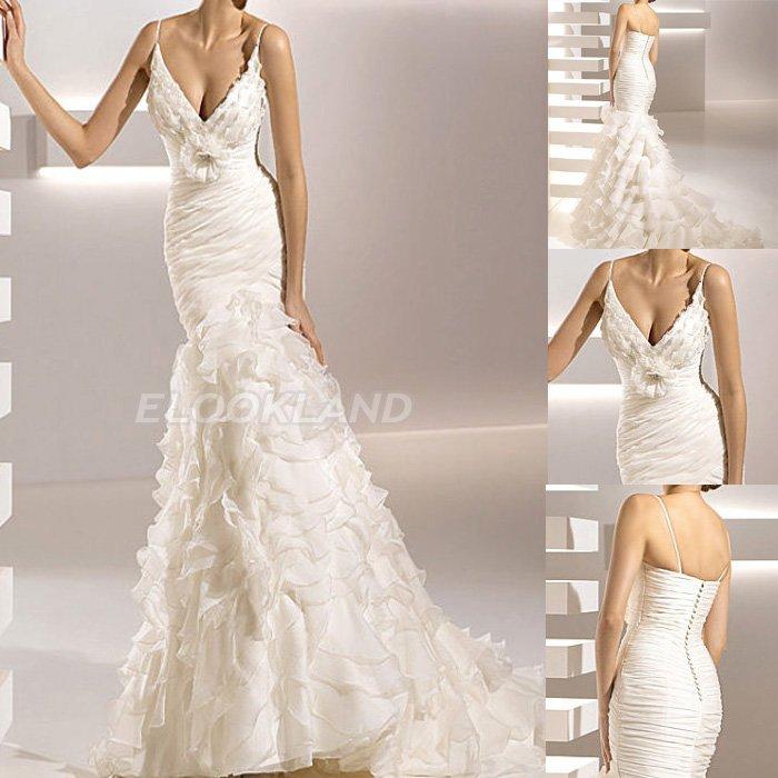 Wedding Dress Accessories Straps : Newest elegant sheath mermaid spaghetti strap organza
