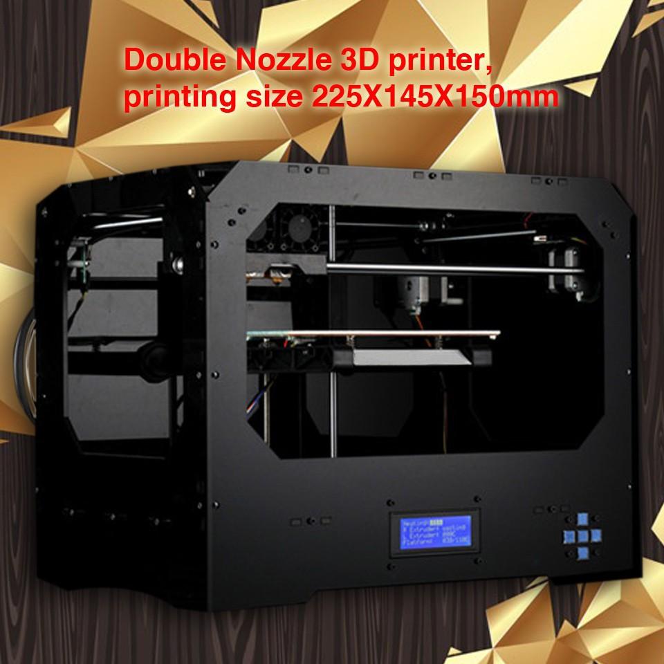 001Double сопла 3D-принтер, 225X145X150mm Размер печати