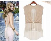 новые женщины без рукавов шифон блузки двойной цвет мозаики блузка d8002
