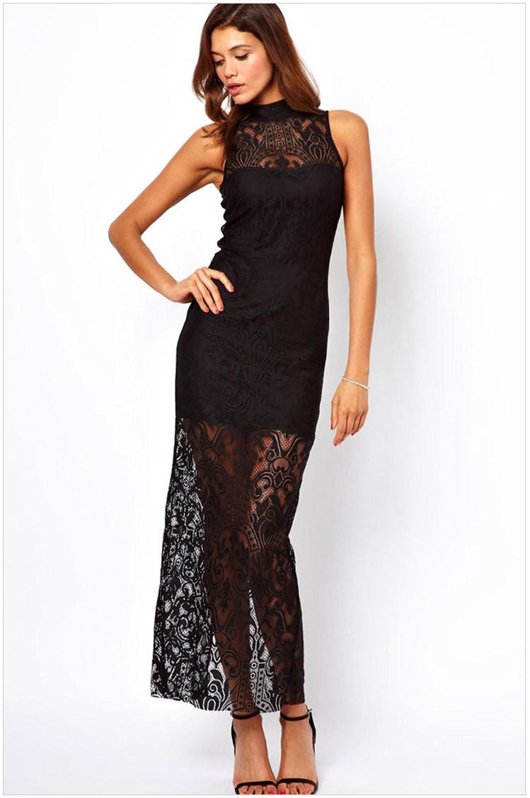 Кружевное черное длинное платье