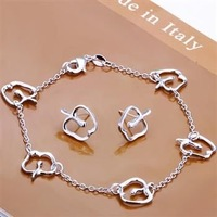Ювелирный набор 925 Silver Jewelry Sets Fashion Pretty Apple Stud Earrings+Bracelet S109