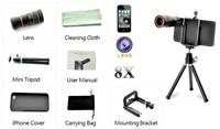 20pcs/lot * 8 x оптический зум телескоп камеры объектив kit + штатив + чехол для iphone 4 4s apple для 5s 5 dc73 5g