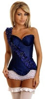 1208red - - Sexy lingerie , Long Fashion overbust Red Brocade Pattern strapless corset + rugosa rose