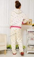 Симпатичные зимние женские пижамы пижамы устанавливает точек шаблон hoodied сна одежду набор коралловые флис 2 размеров 9280
