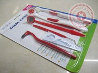 Oral care kit tooth brush+dental mirror+dental floss interdental brush + dentail stain ereaser