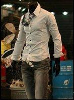 Мужская повседневная рубашка Fashion Long Sleeve Plaid Shirts White