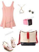 Сумка через плечо White+Black+Red Korea Women's Girls Retro contrast color PU Leather small Shoulder Bag 6486