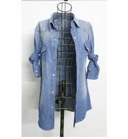 Женская джинсовая одежда 2013 women's fashion vintage washed cotton long-sleeve denim shirt air conditioning shirt denim blouses