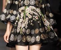 Женское платье Stunning! 2014 new spring women runway designer fashion flare sleeve gold coin sakura print dress chiffon vintage dresses 1015