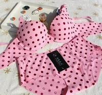Polka Dot seamless underwear set three fourths cup together comfortable bra