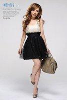 2012 New Fashion Women Sleeveless Lace U-neck Sequins Embellished Seamed Dresses Skirts Free  Shipping E10081116