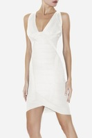 Вечернее платье Hot Selling HL Elastic Knitted Bandage Dress White V009 Ladies Party Dress