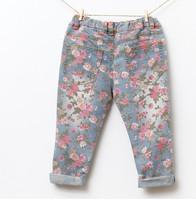 Джинсы для девочек retails, new fashion baby girls jeans flowers long pants jeans girls children pants sandy yuan 2-7Y