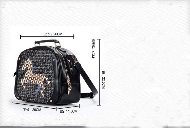 2Pcs Korea Style Black PU Leather Colt Horse Satchel Shoulder Bag