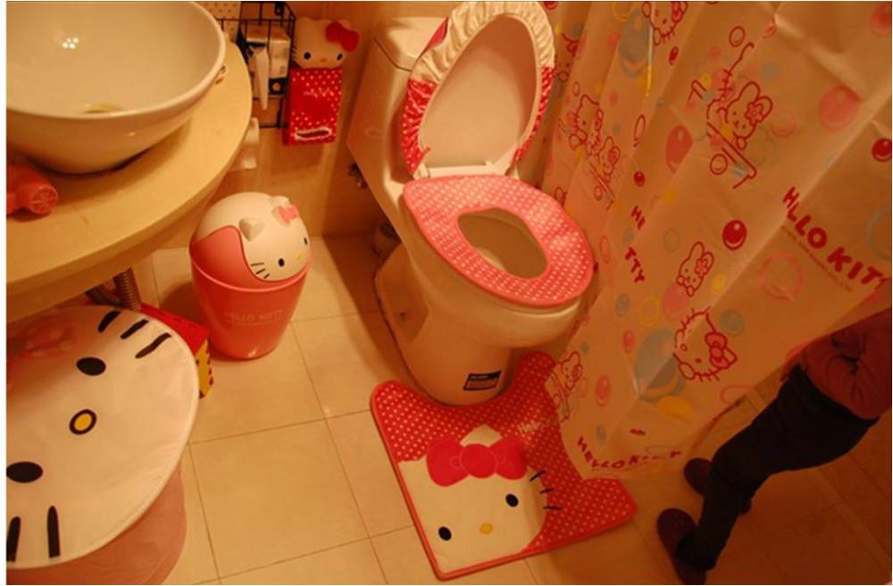 free set hello kitty cartoon toilet seat cover set in bathroom ebay. Black Bedroom Furniture Sets. Home Design Ideas