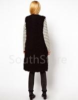 Женский жилет 2013 Autumn Fashion Women's Vest Faux Fur Lamb Wool Solid Color Warm Long Outwear Ladies' Knee-Length Vest in Stock