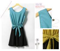 Women's blue elegant gentlewomen color block decoration chiffon belt one-piece dress belt