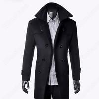 Мужские зимние шерстяные пальто outear Удлиненная Куртка Пальто черный цвет серый