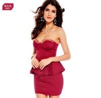 Женское платье Vogue of new fund of 2013 rivet v-neck sexy small formal attire that wipe a bosom