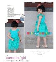 Платье для девочек Designer Girls Casual Dress Tencel Solid Color Flower Sashes Tiered Flower Dress, K0138