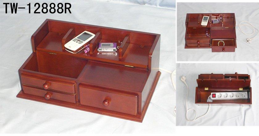 Wooden Desk Organizer With Power Socket - Buy Desk Organizer ...