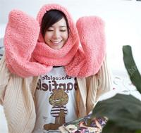 New Xmas Warm Women Hoodie Gloves Pocket Earflap Hat Long Scarf Shawl Wraps 0015