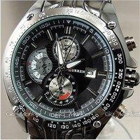 Наручные часы 1PCS NEW DIAL WATER QUARTZ DATE BLACK BAND SPORT MEN STAINLESS STEEL WRIST WATCH