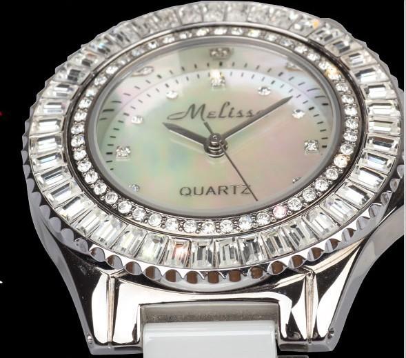 Мелисса дамы наручные часы кварцевых часов Лучший моды платье Браслет Марка керамические часы Роскошные Стразы блеск кубический цирконий 2930