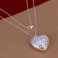 925 Silver Neckalce Heart With Zircon Pendant Necklaces Fashion Jewelry Free Shipping N214
