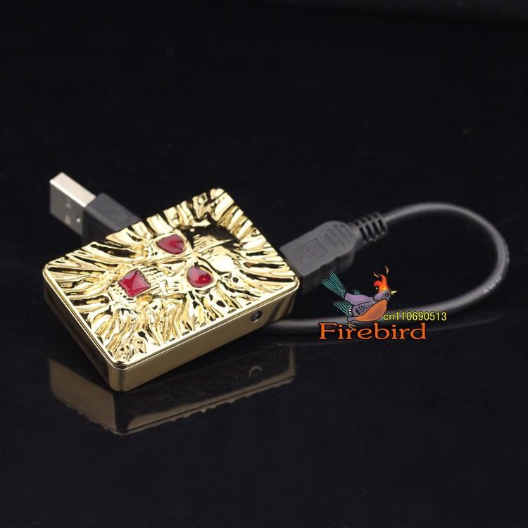 ถูก FIREBIRDเย็นกะโหลกศีรษะแบบUSBอิเล็กทรอนิกส์W Indproofซิการ์บุหรี่ไฟแช็ก
