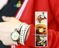 Min.order is $10 (mix order) Retro Roman style Genuine Cow leather fashion Punk winding Wrap Women watch