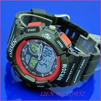 5 шт/много ohsen двойное время основные даты будильник секундомер красной резинкой спортивные наручные часы ad1201-4